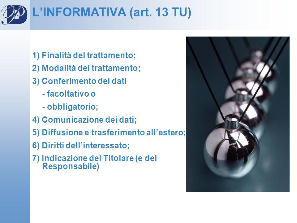 L'INFORMATIVA (art. 13 TU)
