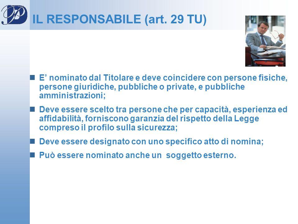 IL RESPONSABILE (art. 29 TU)