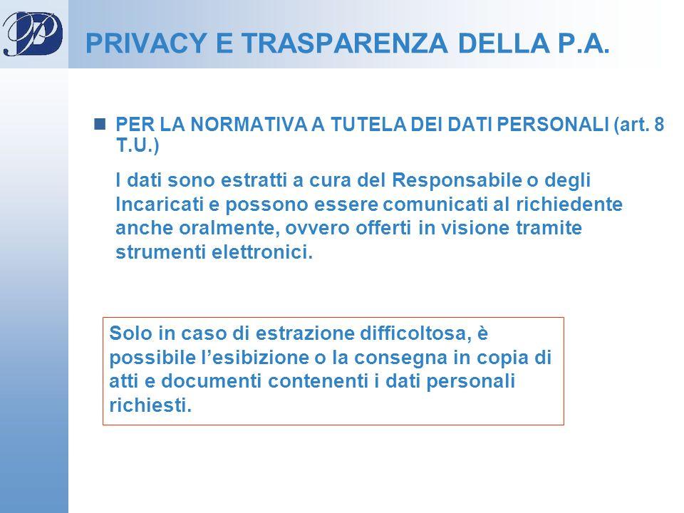 PRIVACY E TRASPARENZA DELLA P.A.