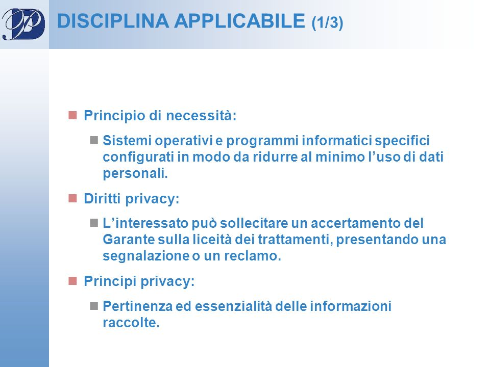 DISCIPLINA APPLICABILE (1/3)