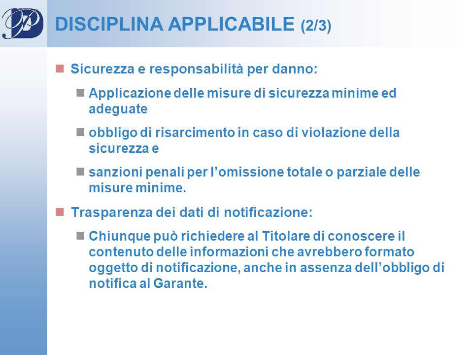 DISCIPLINA APPLICABILE (2/3)