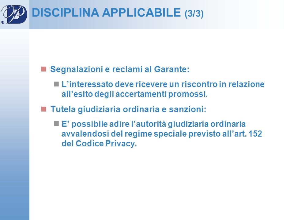 DISCIPLINA APPLICABILE (3/3)