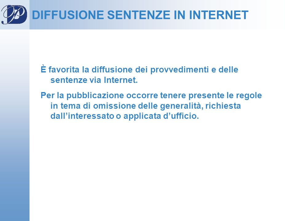 DIFFUSIONE SENTENZE IN INTERNET