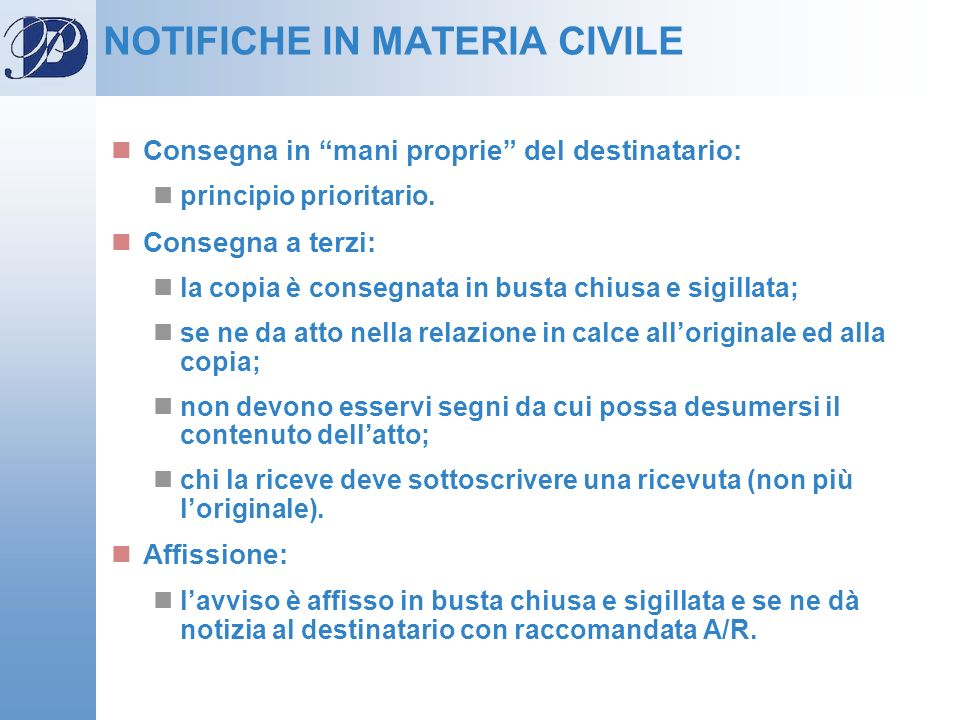 NOTIFICHE IN MATERIA CIVILE