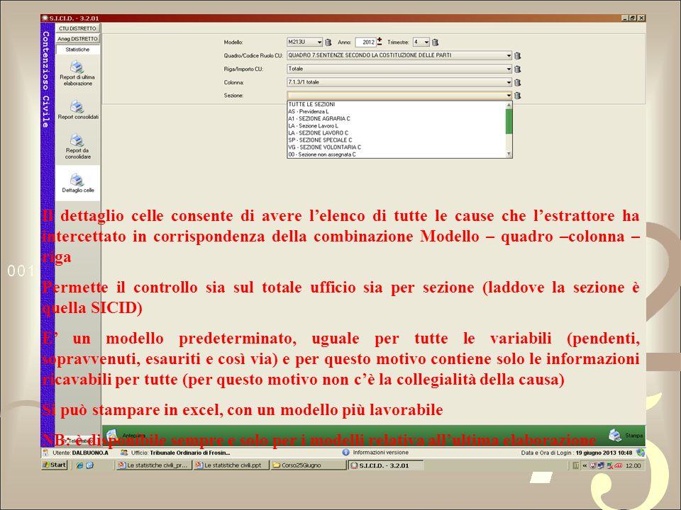 Il dettaglio celle consente di avere l'elenco di tutte le cause che l'estrattore ha intercettato in corrispondenza della combinazione Modello – quadro –colonna – riga