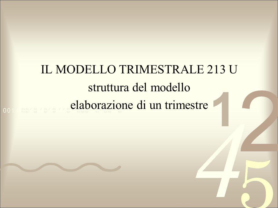 IL MODELLO TRIMESTRALE 213 U struttura del modello