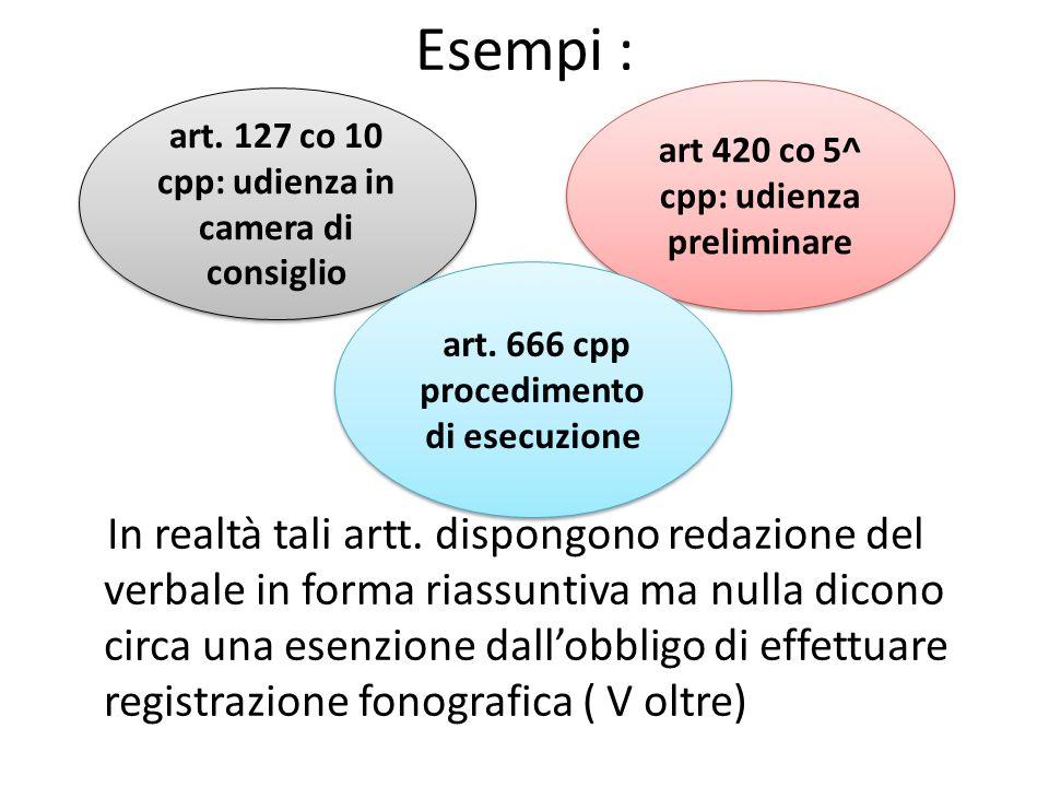 Esempi :art 420 co 5^ cpp: udienza preliminare. art. 127 co 10 cpp: udienza in camera di consiglio.