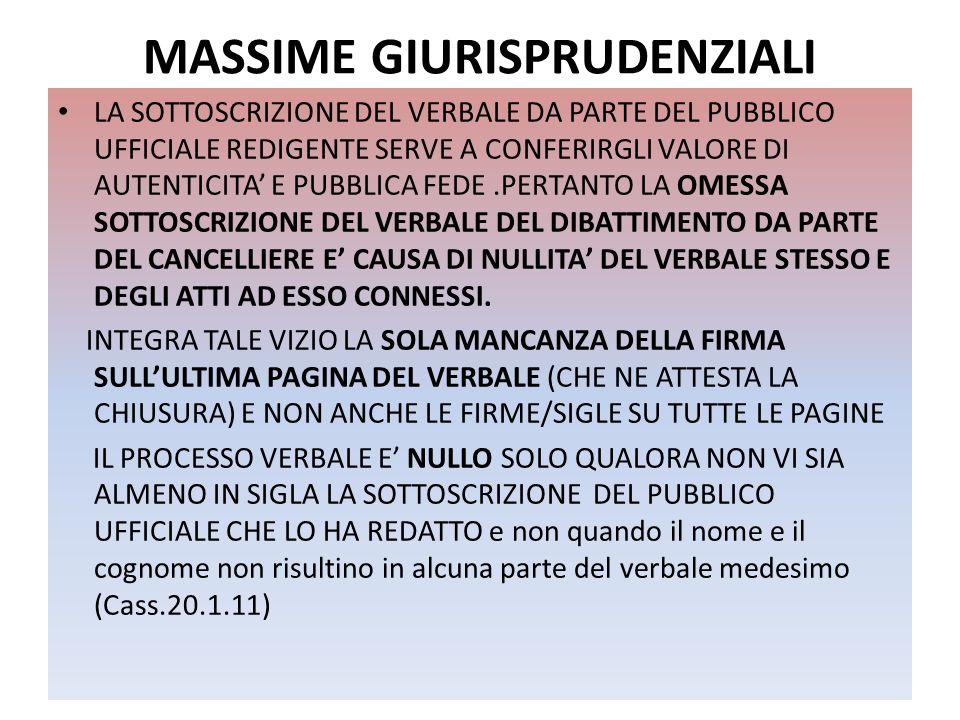 MASSIME GIURISPRUDENZIALI