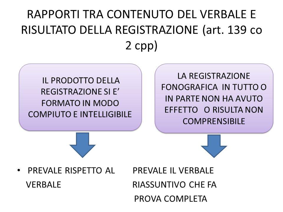 RAPPORTI TRA CONTENUTO DEL VERBALE E RISULTATO DELLA REGISTRAZIONE (art. 139 co 2 cpp)