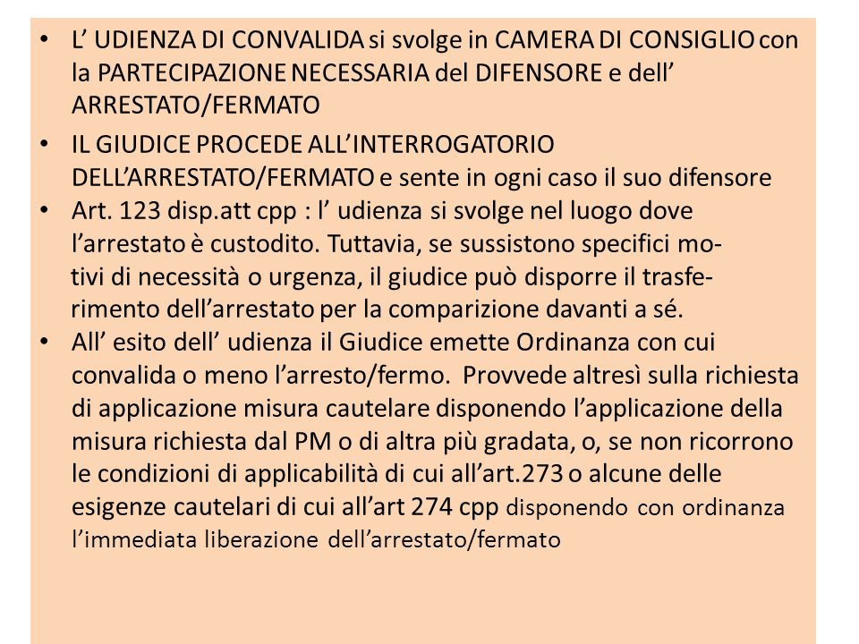 L' UDIENZA DI CONVALIDA si svolge in CAMERA DI CONSIGLIO con la PARTECIPAZIONE NECESSARIA del DIFENSORE e dell' ARRESTATO/FERMATO