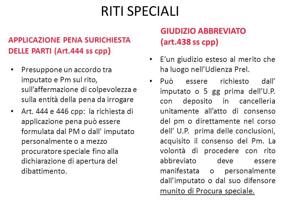 RITI SPECIALI GIUDIZIO ABBREVIATO (art.438 ss cpp)
