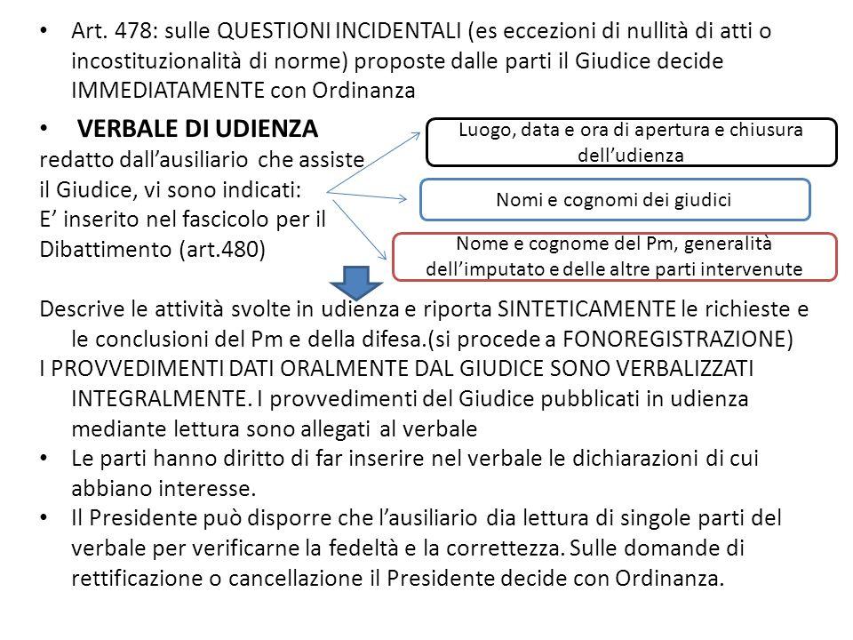 Art. 478: sulle QUESTIONI INCIDENTALI (es eccezioni di nullità di atti o incostituzionalità di norme) proposte dalle parti il Giudice decide IMMEDIATAMENTE con Ordinanza