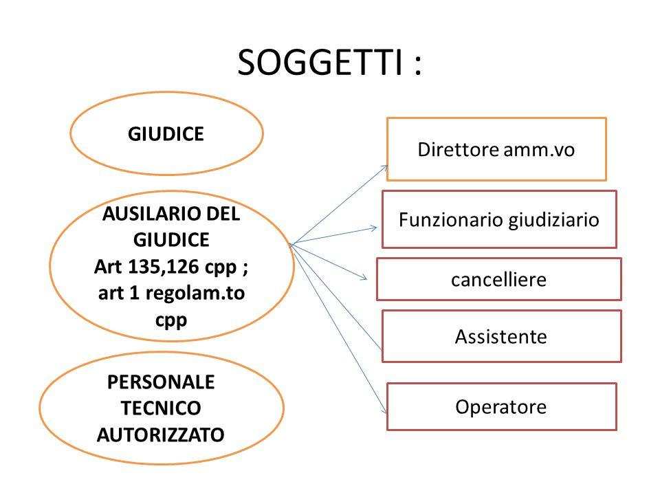 Art 135,126 cpp ; art 1 regolam.to cpp PERSONALE TECNICO AUTORIZZATO