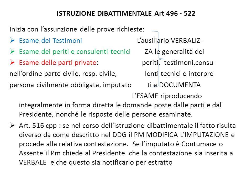 ISTRUZIONE DIBATTIMENTALE Art 496 - 522