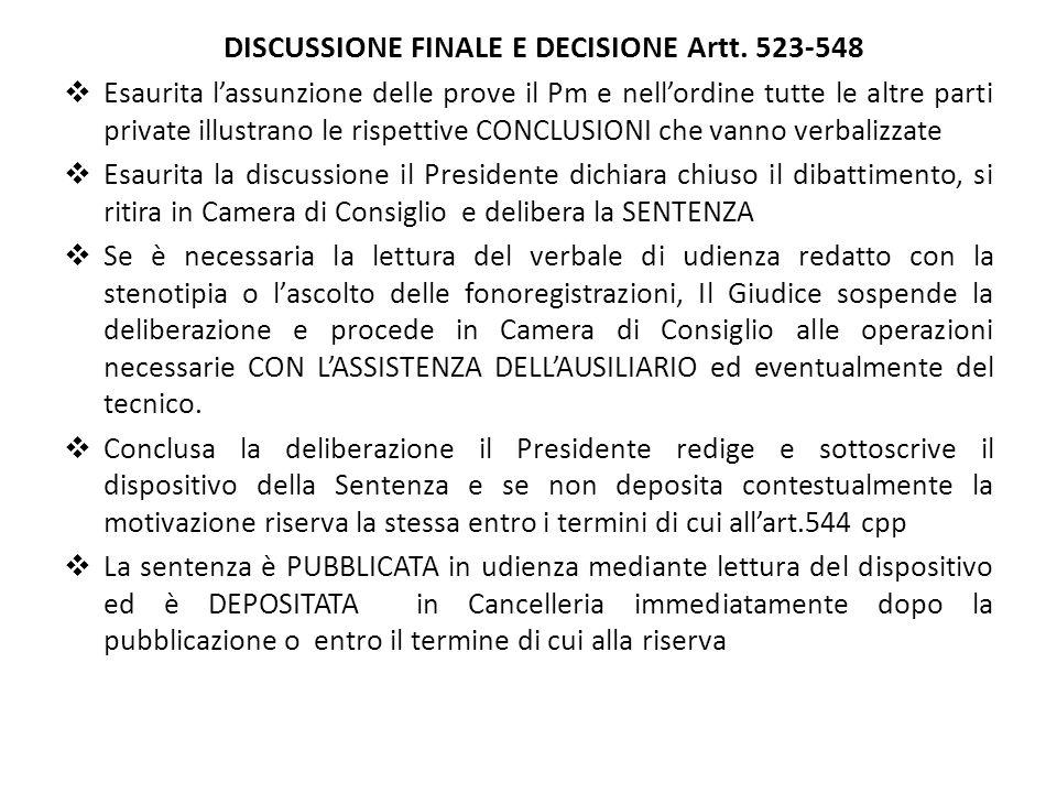 DISCUSSIONE FINALE E DECISIONE Artt. 523-548
