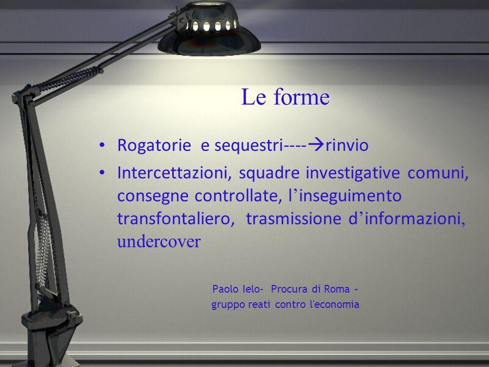 Le forme Rogatorie e sequestri----rinvio