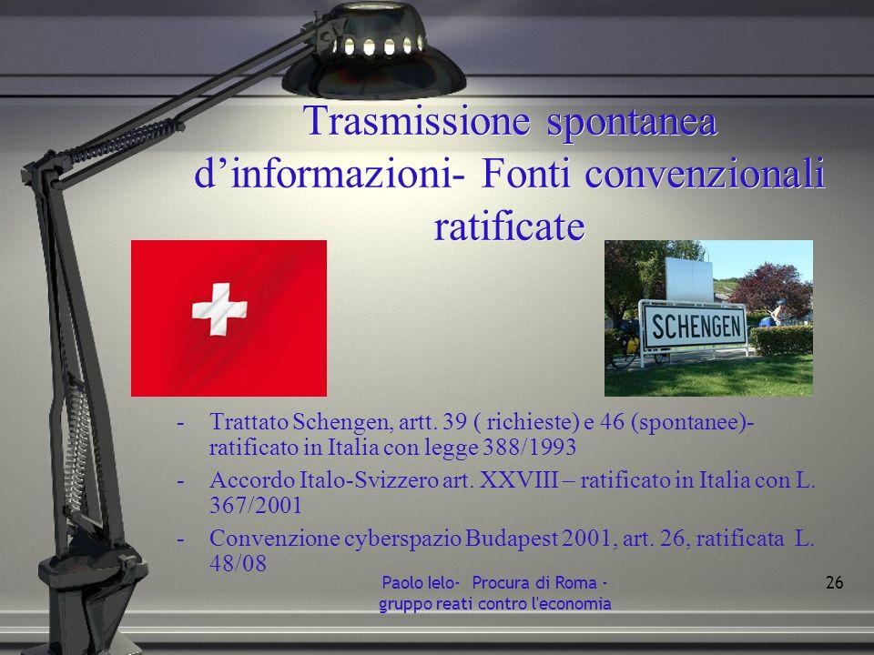 Trasmissione spontanea d'informazioni- Fonti convenzionali ratificate