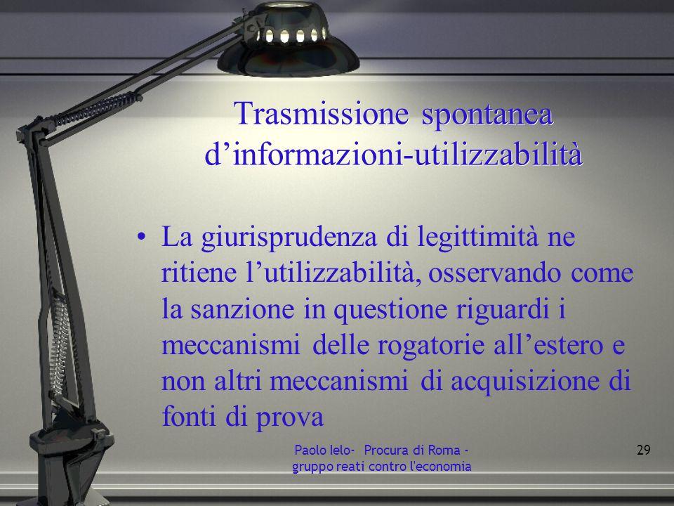 Trasmissione spontanea d'informazioni-utilizzabilità