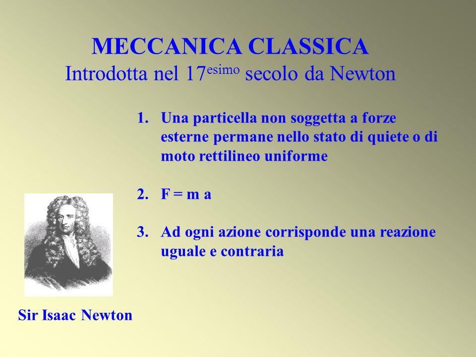 MECCANICA CLASSICA Introdotta nel 17esimo secolo da Newton