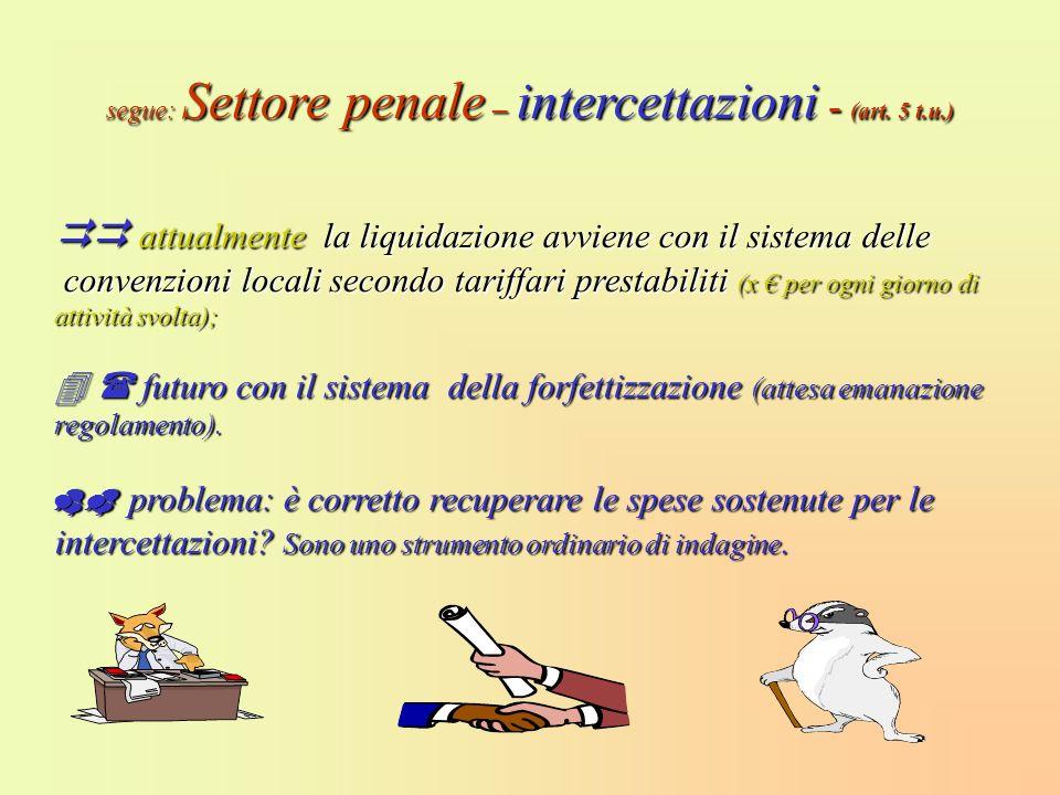 segue: Settore penale – intercettazioni - (art. 5 t.u.)