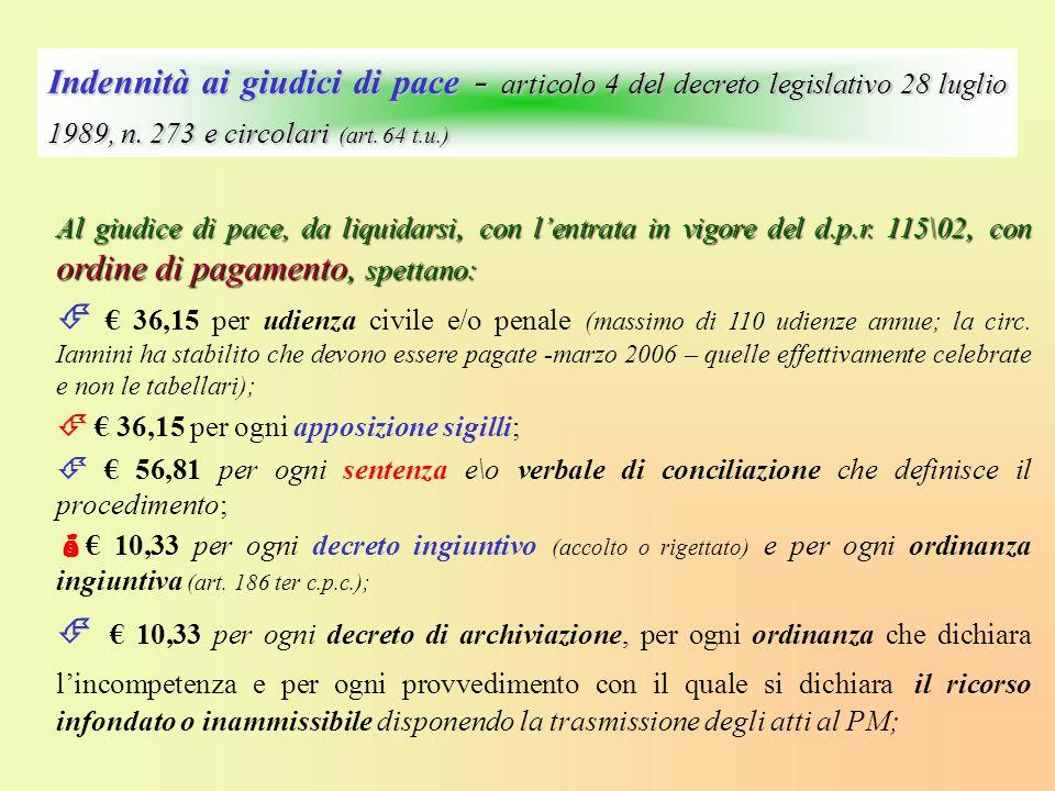 Indennità ai giudici di pace - articolo 4 del decreto legislativo 28 luglio 1989, n. 273 e circolari (art. 64 t.u.)