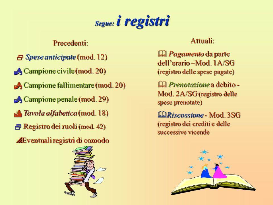  Prenotazione a debito - Mod. 2A/SG (registro delle spese prenotate)