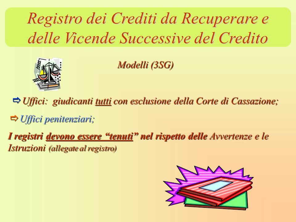 Registro dei Crediti da Recuperare e delle Vicende Successive del Credito