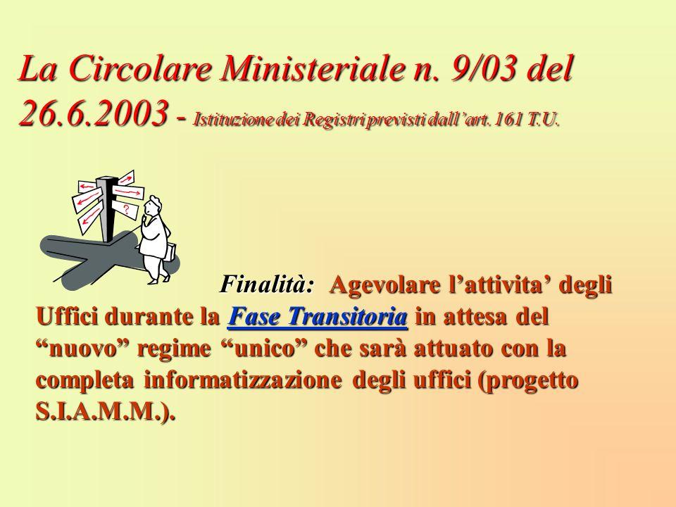La Circolare Ministeriale n. 9/03 del 26. 6