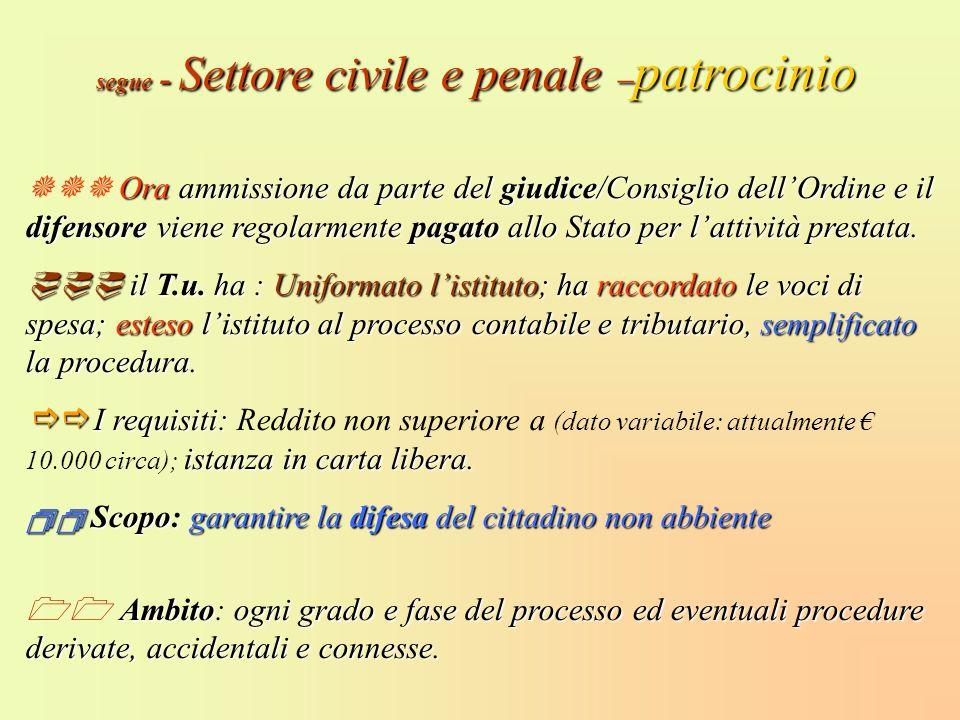 segue - Settore civile e penale –patrocinio