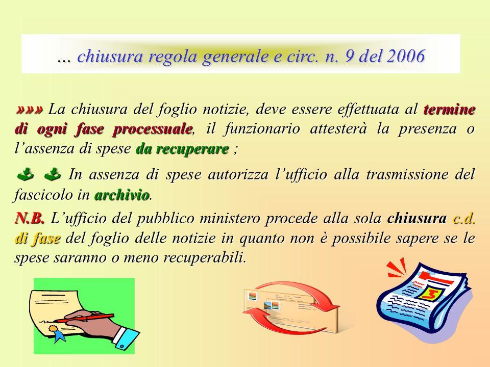… chiusura regola generale e circ. n. 9 del 2006