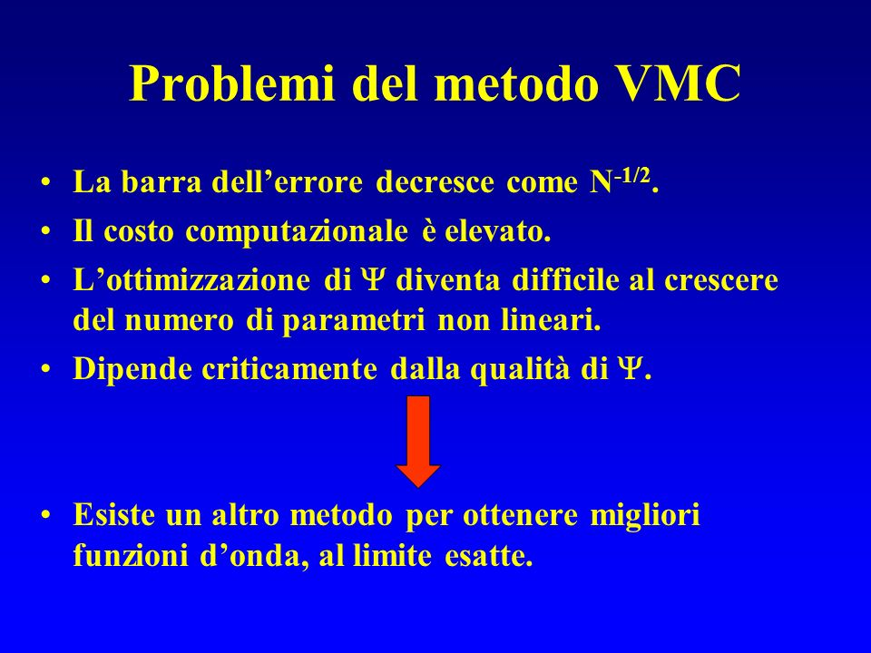 Problemi del metodo VMC