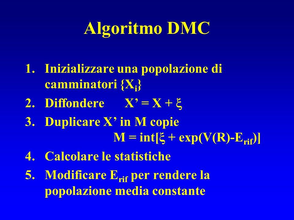 Algoritmo DMC Inizializzare una popolazione di camminatori {Xi}