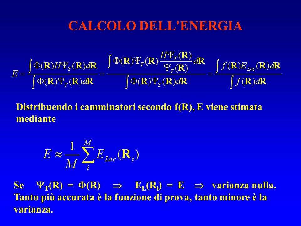 CALCOLO DELL ENERGIA Distribuendo i camminatori secondo f(R), E viene stimata mediante.