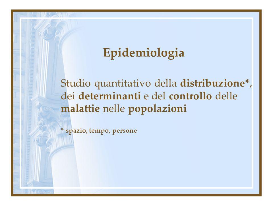 Epidemiologia Studio quantitativo della distribuzione*, dei determinanti e del controllo delle malattie nelle popolazioni.