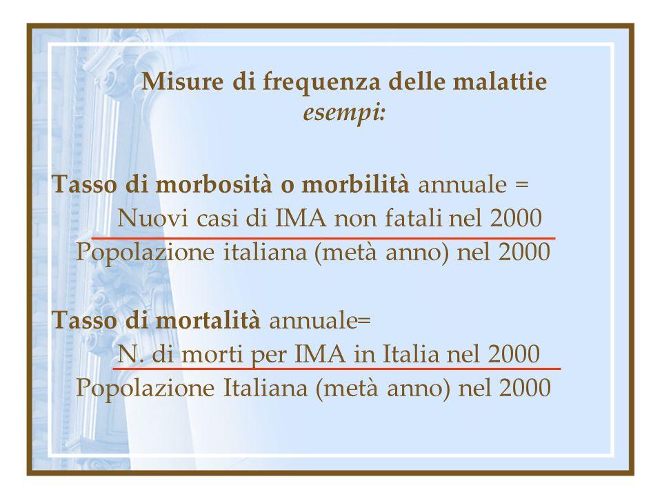 Misure di frequenza delle malattie esempi: