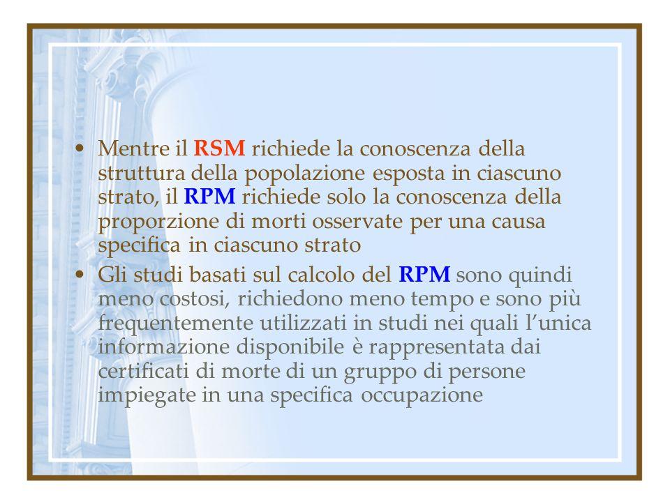 Mentre il RSM richiede la conoscenza della struttura della popolazione esposta in ciascuno strato, il RPM richiede solo la conoscenza della proporzione di morti osservate per una causa specifica in ciascuno strato