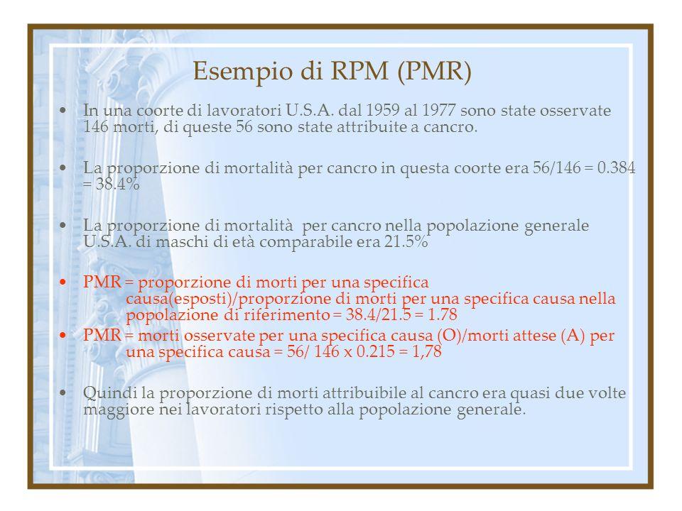 Esempio di RPM (PMR) In una coorte di lavoratori U.S.A. dal 1959 al 1977 sono state osservate 146 morti, di queste 56 sono state attribuite a cancro.
