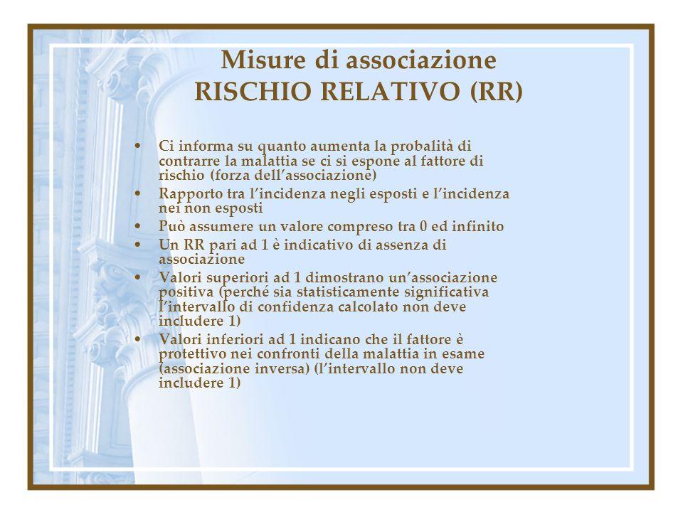 Misure di associazione RISCHIO RELATIVO (RR)