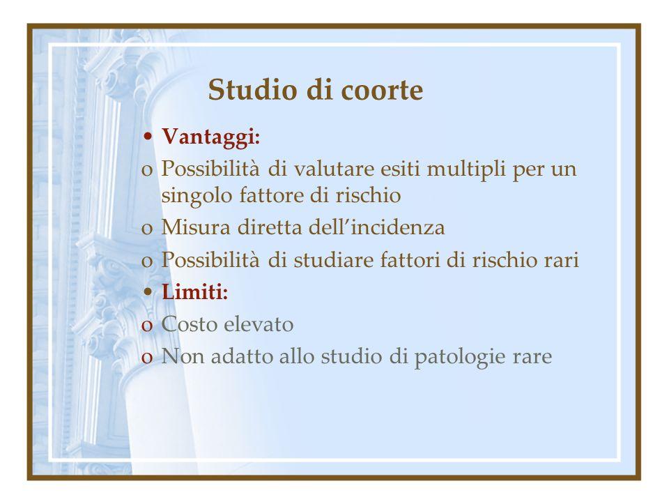 Studio di coorte Vantaggi: