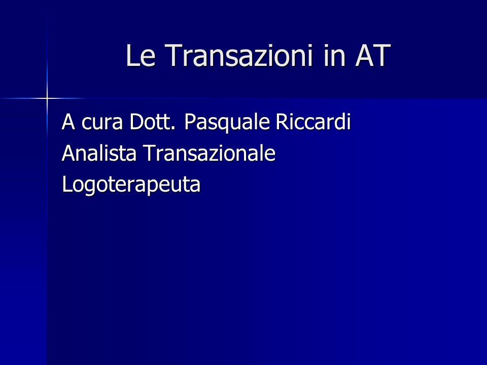 Le Transazioni in AT A cura Dott. Pasquale Riccardi