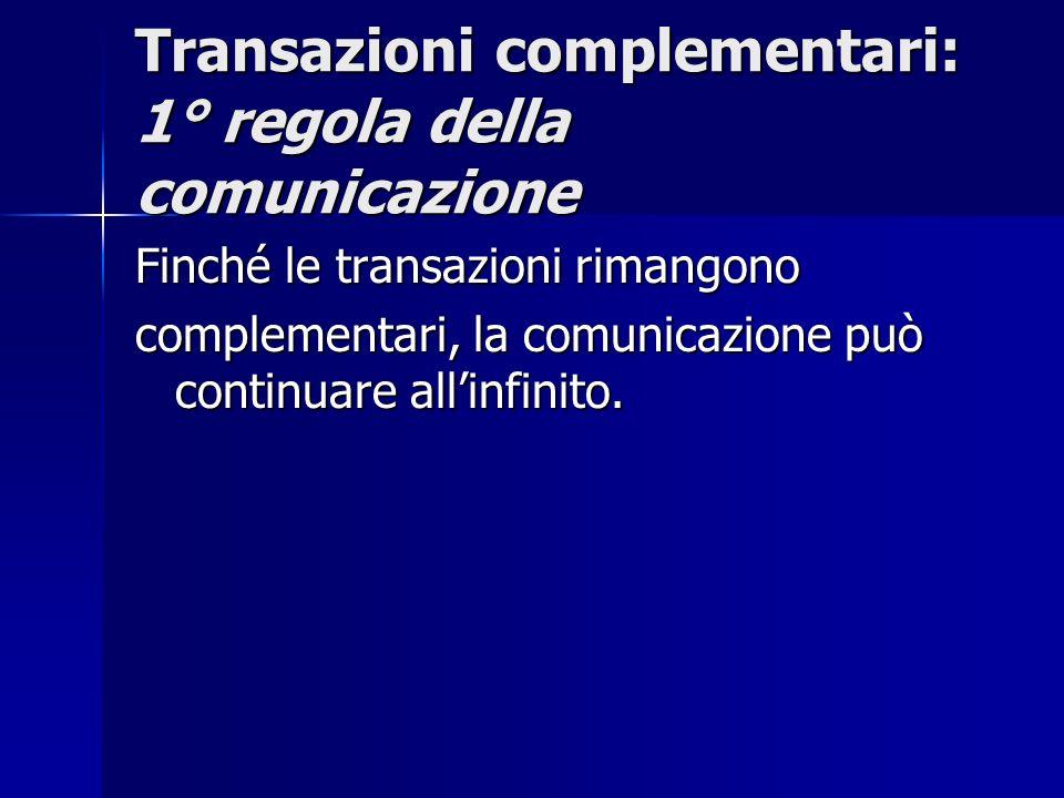 Transazioni complementari: 1° regola della comunicazione