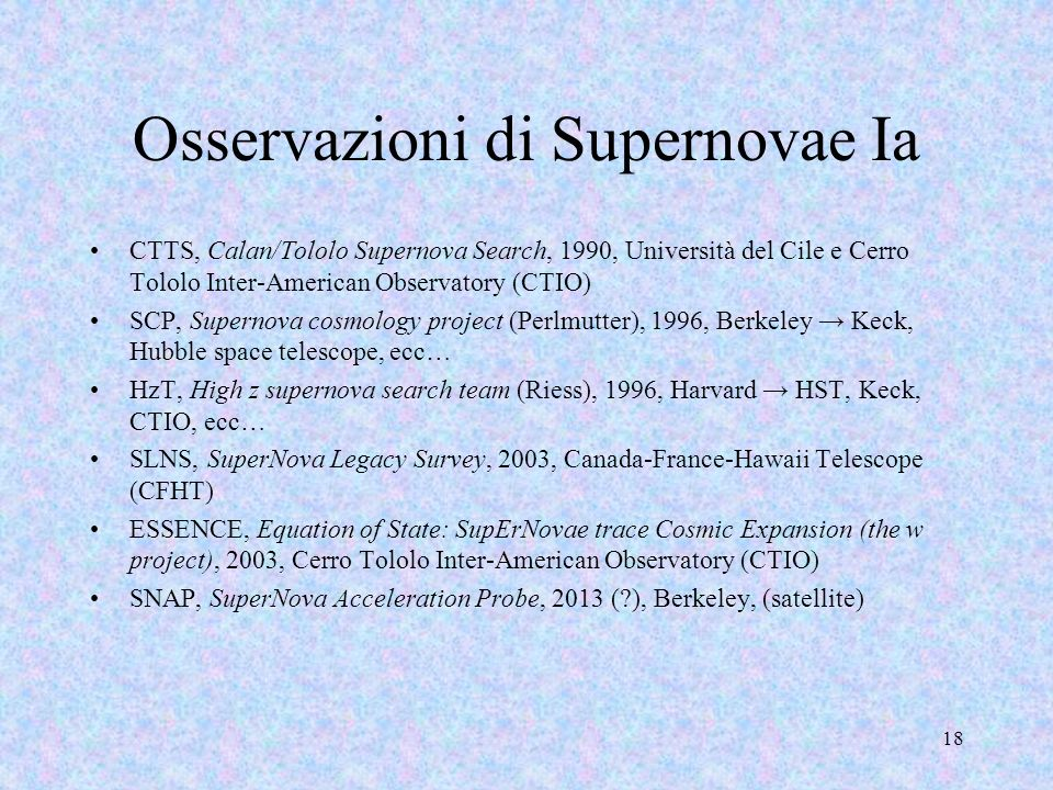 Osservazioni di Supernovae Ia