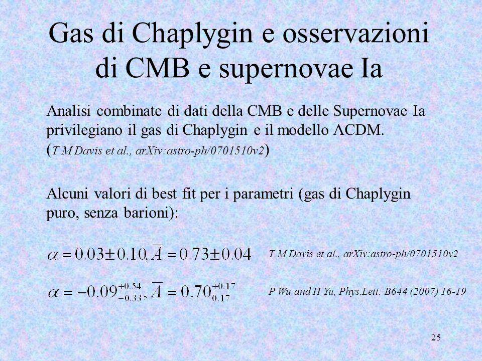 Gas di Chaplygin e osservazioni di CMB e supernovae Ia