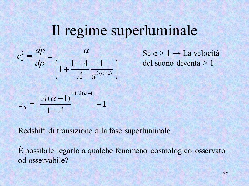 Il regime superluminale