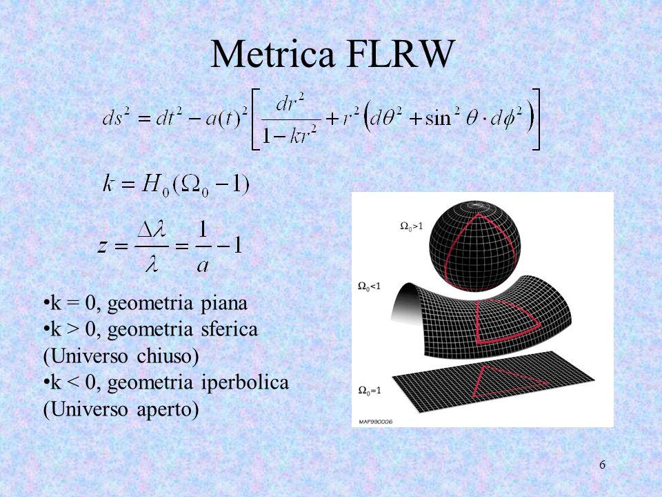 Metrica FLRW k = 0, geometria piana