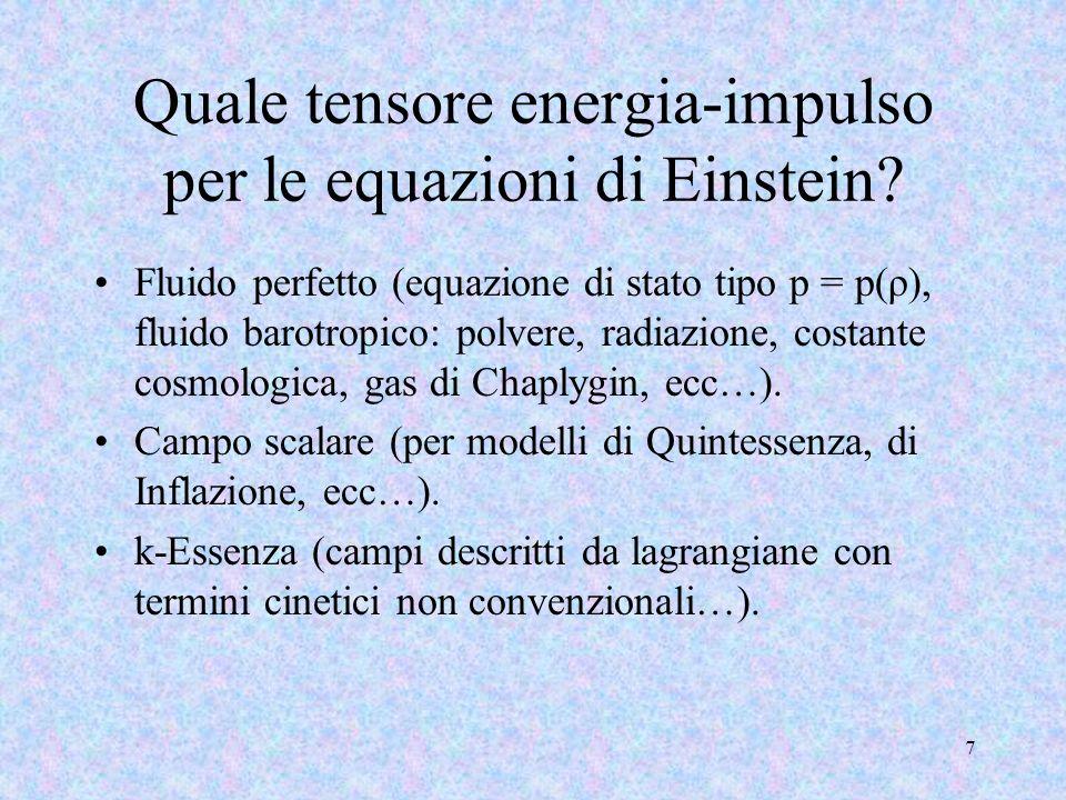 Quale tensore energia-impulso per le equazioni di Einstein
