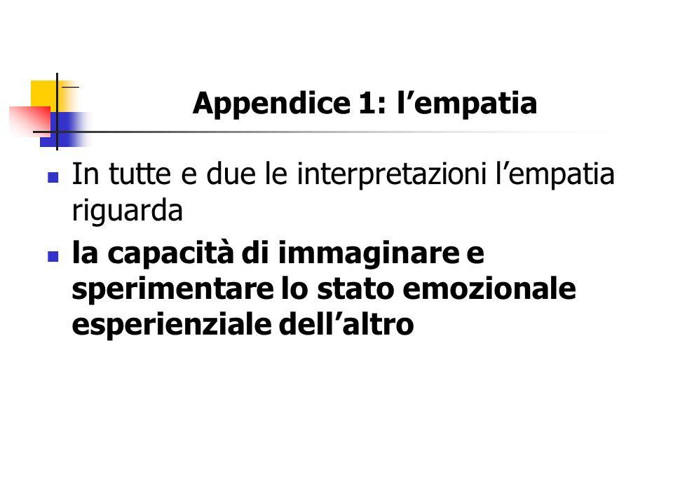 Appendice 1: l'empatia In tutte e due le interpretazioni l'empatia riguarda.
