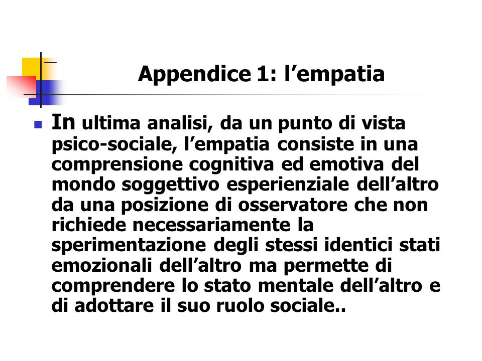 Appendice 1: l'empatia