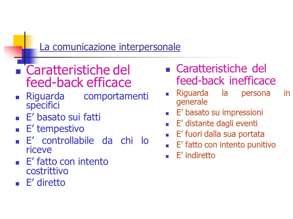 Caratteristiche del feed-back efficace