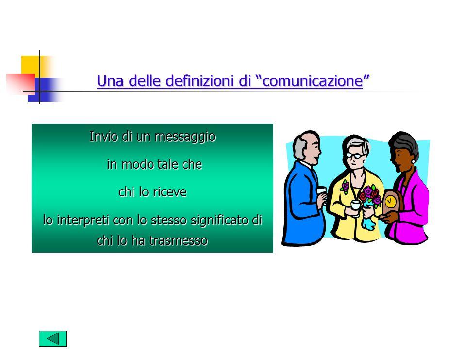 Una delle definizioni di comunicazione